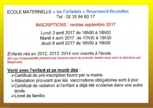 inscriptions maternelle 2017