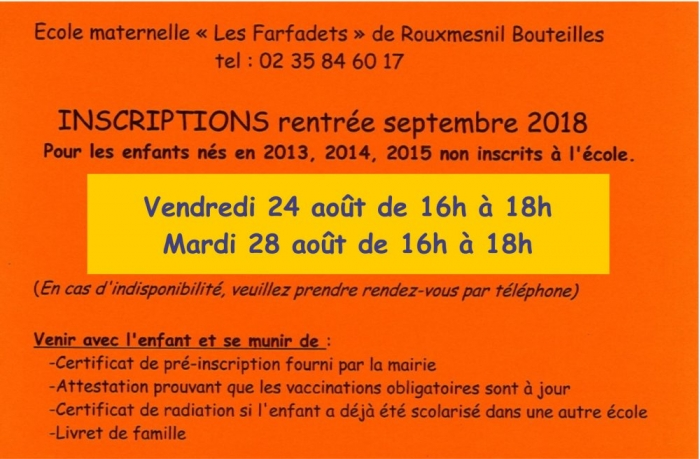inscription maternelle 2018 2