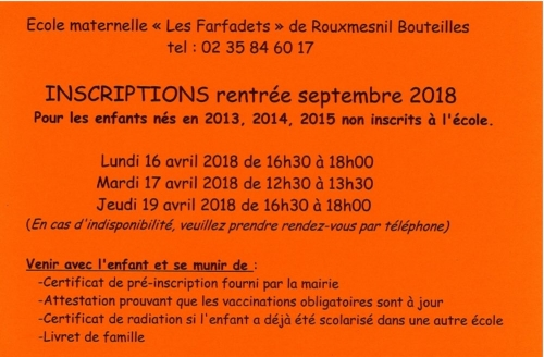 inscription maternelle 2018