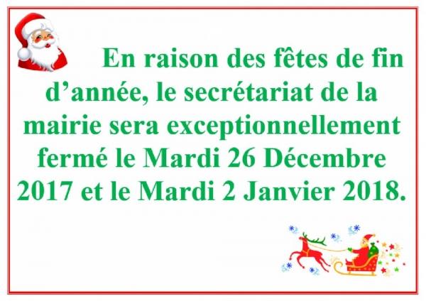 Affiche Fermeture Mairie Décembre 2017