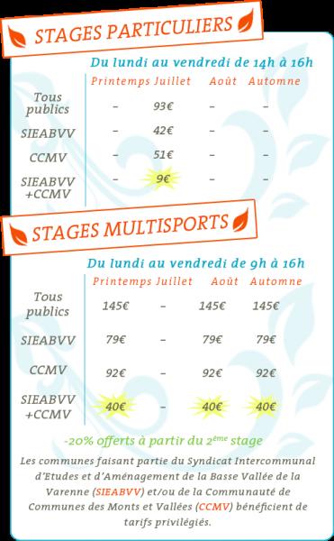 TARIFS 2015-stage varenne